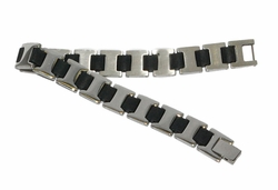 4-4059-D1 Mens Steel and black Rubber Bracelet