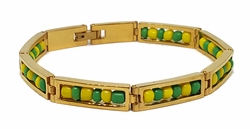 4-4060-f8 316L Stainless Steel Gold Layered Orula Ide Bracelet for Santeros. Unisex. 8mm wide.