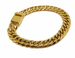 4-4062-f8 Gold Layered Over Stainless Steel Thick 11mm Cuban Link Bracelet. 9 inches.