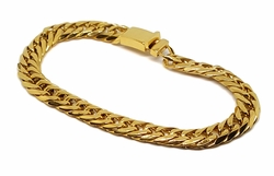 4-4065-f8 Gold Layered Over Stainless Steel 9mm Cuban Link Bracelet. 9 inches.