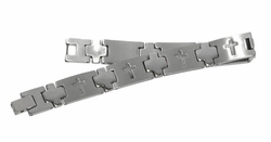 4-4072-D1 Mens Steel Crosses Bracelet