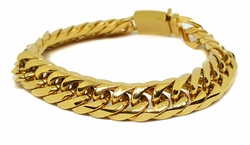 4-4079-f8 Gold Layered Over Stainless Steel Thick 14mm Cuban Link Bracelet. 9 inches.