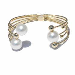 1-4094-f3 18kt Brazilian Gold Layered Cuff Bangle with Pearls and Gold Balls.