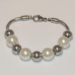 "4-4116-e5 Stainless Pearl and Steel Balls Bracelet - 7.25"", 10mm Balls"
