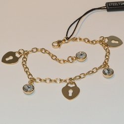 "4-4127-e5 Gold Plated Stainless Charm Bracelet - Hearts and Crystals - 7.5""-9"" adjustable"