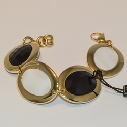 """4-4130-e5 Gold Plated Steel Bracelet with Black and White Stones - 7.5""""-8"""" adjustable"""