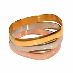 4-4182-e11 Stainless Rectangular Three Tone 3 Piece Bangle Set. Each bangle is 12mm wide.