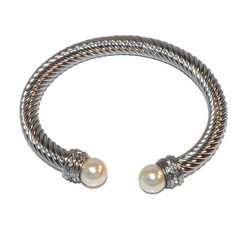 4-4185-f1 Stainless Twist bangle with Pearl Tips, 7mm wide, 10mm pearls,