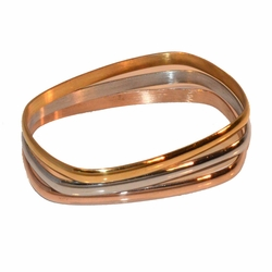 4-4187-A-e11 Stainless Rectangular Three Tone 3 Piece Bangle Set. Each bangle is 6mm wide.