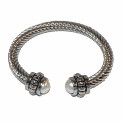 4-4187-A-f1 Stainless Twist bangle with Pearl Tips, 7mm wide, 15mm tips,