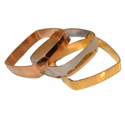 4-4187-e11 Stainless Square Three Tone 3 Piece Bangle Set. Each bangle is 12mm wide.