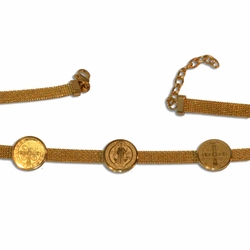 "4-4218-e10 Gold Plated Stainless San Benito Bracelet. 7.5"" to 8.5"" adjustable length. 6mm wide with 15mm coins."