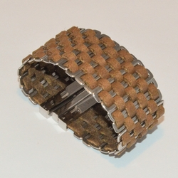 4-4221-e1 Ladies Steel and Leather Bracelet (2 Colors available)