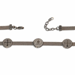"4-4222-e10 Stainless San Benito Bracelet. 7.5"" to 8.5"" adjustable length. 6mm wide with 15mm coins."