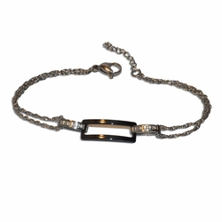 "4-4235-e11 Stainless Bracelet with double link and Black Center Rectangular Piece. 7"" to 8"" adjustable length, 8mm wide."