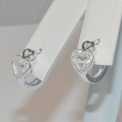 4-4237-e5 Sterling CZ Heart Huggie Hoop Earrings