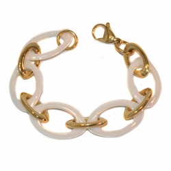 "4-4238-e10 Gold Plated Stainless Bracelet with Ceramic Links. 7.5"", 20mm wide."