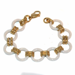 "4-4238-e210 Gold Plated Stainless Bracelet with Ceramic Links. 7.5"", 18mm wide."