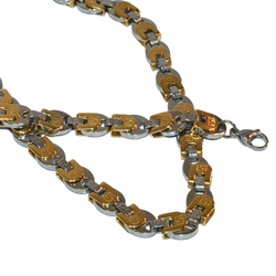 "4-6040-f21 Stainless Two Tone Greek Design Men Necklace and Bracelet Set, 24"" chain, 8.5"" bracelet, 10mm wide,"