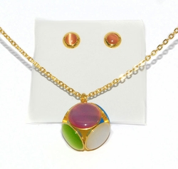 4-6098-D1-MLT Ladies  Gold Plated Steel Set (Multicolor)