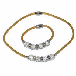 4-6112-D1 Ladies 2 Tone Necklace and Bracelet
