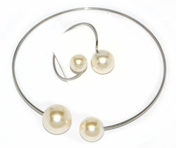 4-6200-D1 Ladies Steel Pearl Set