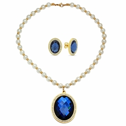 "4-7015-e10 Stainless Gold Plated Pearl Necklace with Faceted Blue Stone Pendant and Earrings Set. 15x20mm Earrings, 40mm Pendant, Necklace 18"" with 8mm pearl beads."