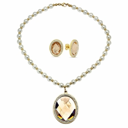 "4-7015-e110 Stainless Gold Plated Pearl Necklace with Faceted Champaign Stone Pendant and Earrings Set. 15x20mm Earrings, 40mm Pendant, Necklace 18"" with 8mm pearl beads."