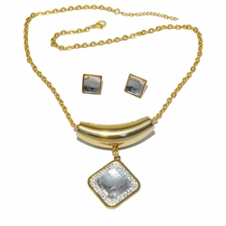 4-7017-G-f2 316L Stainless Steel Gold Plated Earrings and Necklace Set