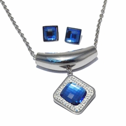 4-7017-S-f2 316L Stainless Steel  Earrings and Necklace Set