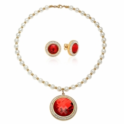 "4-7030-e110 Stainless Gold Plated Pearl Necklace with Faceted Red Stone Pendant and Earrings Set. 15x20mm Earrings, 40mm Pendant, Necklace 18"" with 8mm pearl beads."