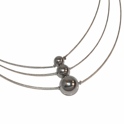4-7039-e12 316L Stainless triple ball necklace, Adjustabel length,