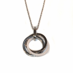 "4-7047-e110 Stainless Necklace with Ceramic and Steel Circles Pendant. Necklace 18"", pendant 24mm."