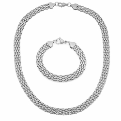 "4-7058-e10 Stainless Flat Mesh Necklace and Bracelet Set. 8mm wide, 18"" necklace and 7.5"" bracelet."