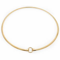 4-7072-e110 Stainless Gold Plated Choker Necklace. 4.5mm hard half round wire.