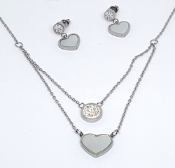 "4-7078-steel-f10 316L Stainless Steel Mother of Pearl Double Necklace and Earring Set. 18-20"" adjustable necklace."