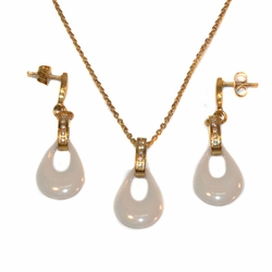 "4-7079-e10 Gold Plated Stainless Necklace White Ceramic Pendant and Earring Set. 18"" necklace 1.5"" earrings, 15mm pendant."