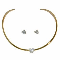 4-7088-e12 Stainless Gold Plated Choker and Earrings set, hearts with crystals,