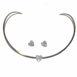 4-7088-e212 Stainless Choker and Earrings set, hearts with crystals,