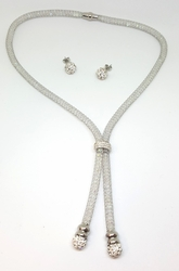 4-7093-f6 Stainless Steel Crystal Filled Mesh Necklace with Fireball Earrings.