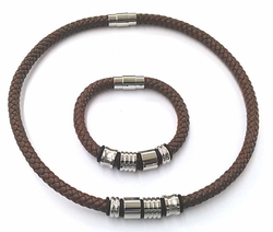 "4-7138-f6 316L Stainless Steel Thick Brown Leather Necklace and Bracelet Set. Unisex. 20"" necklace and 8"" bracelet."