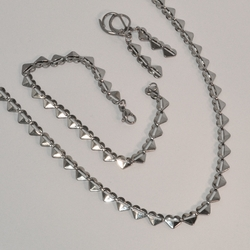 "4-7158-e6 Hearts Necklace Earrings and Bracelet. 5mm wide. Necklace is 18"" and Bracelet 7.5"""