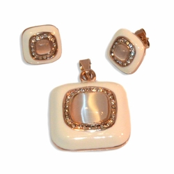 4-9011-e9 Stainless Rose Plated Earring and Pendant Set. White with Pink Cat Eye Stone. Earrings 13mm, pendant 2.5""