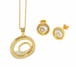 4-9040-D1-GLD Ladies Gold Plated Steel Set