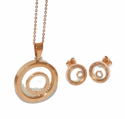 4-9040-D1-ROS Ladies Rose Plated Steel Set