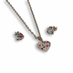 "4-9070-e8 Stainless Multicolor Stones Heart Set. Comes with Earrings, Necklace and Pendant. 18"" necklace and 14mm pendant."