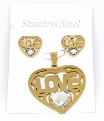 4-9070-f10 18kt Gold Layered Over Stainless Steel Heart Shaped Love Earring and Pendant Set. 40mm pendant, 16mm earrings.