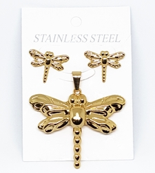 4-9070-f210 18kt Gold Layered Over Stainless Steel Dragonfly Earring and Pendant Set. 2 inch pendant, 20mm earrings.