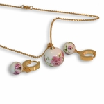 "4-9077-e8 Stainless with Gold Plating Ceramic Art Ball. Earring, necklace and pendant set. 18"" necklace with 16mm pendant."