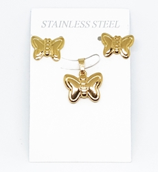4-9077-F210 18kt Gold Layered Over Stainless Steel Butterfly Earring and Pendant Set. 17mm pendant, 15mm earrings.
